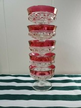 Vintage Indiana Glass Colony Ruby Red Thumbprint Ice Cream Cup Bowl Dess... - $38.99