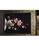 Floral Orchid Handstitched Hmong Masterpiece Silk Embroidery Custom Fram... - $284.99