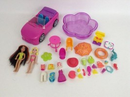 Mattel Polly Pocket Pool Party 34pc Playset Lot Dolls Accessories Toy Do... - $27.67