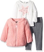Nautica Baby Girls' Jacket, Shirt, and Double Knit Pant Set, Pink, 3 Months