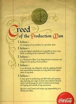 Coca Cola Creed of the Production Man Certificate with Yellow Ribbon  - $148.88