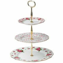 Royal Albert New Country Roses Vintage Formal 3-Tier Cake Stand NEW - $98.99