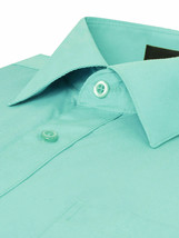 Omega Italy Men's Long Sleeve Solid Barrel Cuff Aqua Button Up Dress Shirt  4XL image 2