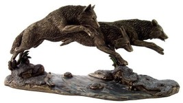 """Top Collection H 6.5"""" L 14"""" Wolves on The Run Statue Designed by Jody Be... - $140.65"""