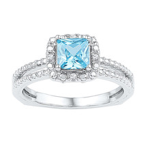 Sterling Silver Womens Princess Lab-Created Blue Topaz Solitaire Ring 1.... - £81.45 GBP