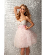 Posh Romantic Sexy Strapless Short Beaded Evening Gown/Prom Dress, Pink ... - $254.99