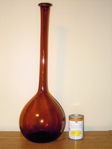 Vtg Mid Century Amber Glass Tall Floor Ball Genie Teardrop Bottle Vase H... - $49.99
