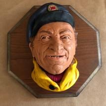 Legends skipper chalkware head figure vintage mounted boat captain fishe... - $32.50