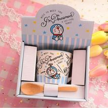 Cartoon Im Doraemon Mug Cat Type Robot Ceramic Coffee Milk Tea Cup + Spoon - $30.94