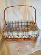 Longaberger 1994 Woven Traditions Pie Basket Plaid Liner Plastic Protect... - $39.95