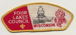 USA BSA Four Lakes WISCONSIN Badger Council Boy Scouts Shoulder Patch - $5.94