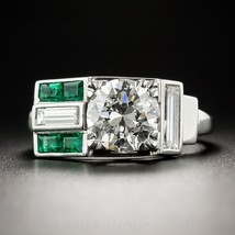 Art Deco Style Vintage White & Green Baguette Diamond Ring In Solid 925 Silver  - $149.99
