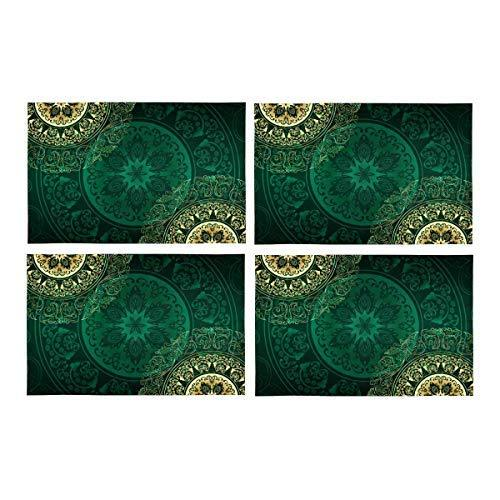 InterestPrint Gold Green Mandala Floral Swirls Antique Eastern Arab Pattern Wash