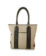 Burberry Beige/Gray canvas & Black Leather Trim Handbag Tote Large Shopp... - $683.10