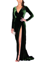 Velvet Split Mermaid Long Sleeve Prom Dress Sexy Evening Gown - $108.99