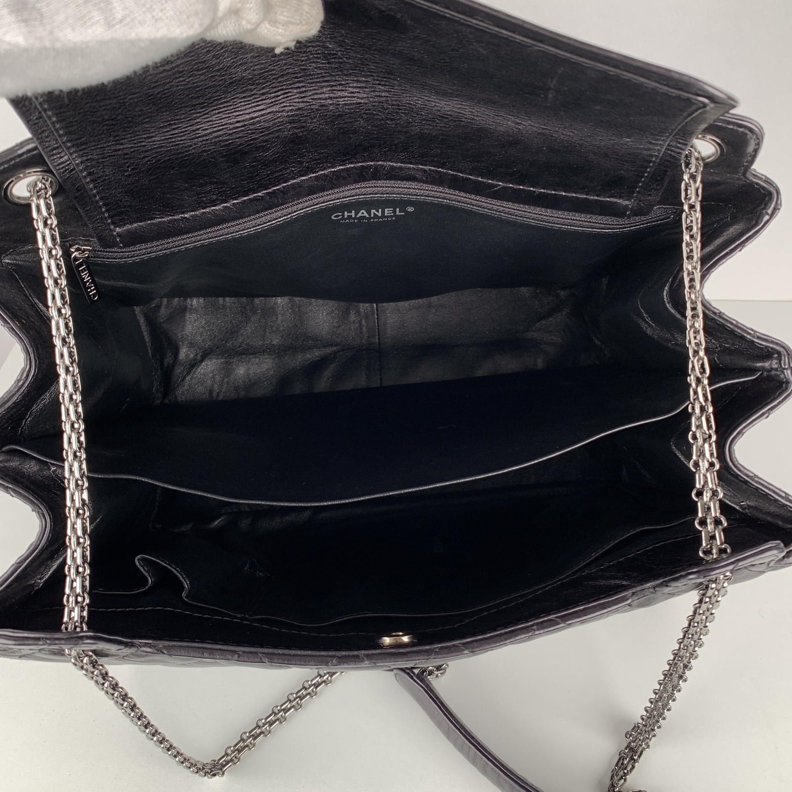 Authentic Chanel Black Quilted Leather Large Reissue 2.55 Accordion Flap Bag image 9