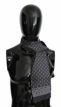 Dolce & Gabbana Mens Luxury Dark Blue Baroque 100% Silk Wrap 125cm x 15c... - $143.55