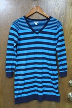 W9751 Womens OLD NAVY Turquoise/Blue Striped SWEATER DRESS Vee Neck MEDIUM - $13.55
