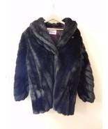 VTG Monterey Fashions Faux Fur Coat 80% Modacrylic 20% Acrylic Solid Bla... - $111.38
