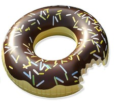 Swim About Large Donut Swim Ring Tube Pool Inflatable Floats for Adults (Brown) image 1
