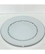 2 MIKASA MELBOURNE DINNER PLATES 5556 VINTAGE FINE CHINA PLATINUM SILVER... - $19.99