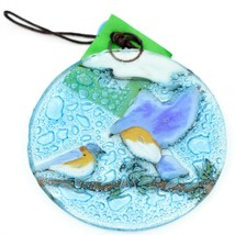 Blue Birds Bluebird Fused Art Glass Ornament Sun Catcher Handmade Ecuador image 2