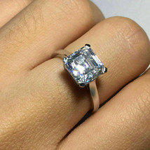Diamond Solitaire Engagement Ring 14K White Gold Over 3.00Ct Asscher Cut - $77.27