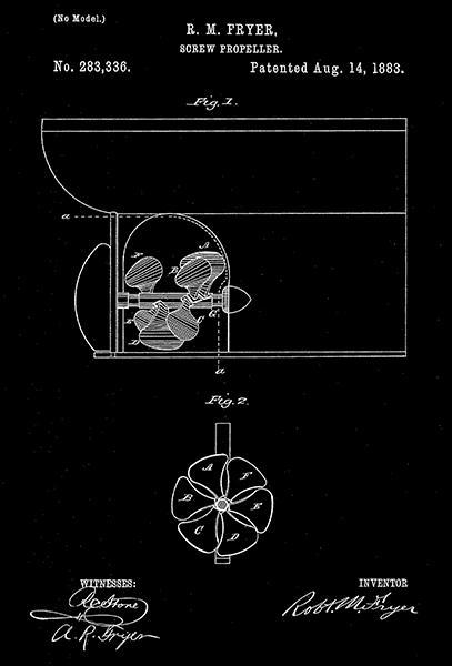 Primary image for 1883 - Screw Propeller - R. M. Fryer - Patent Art Poster