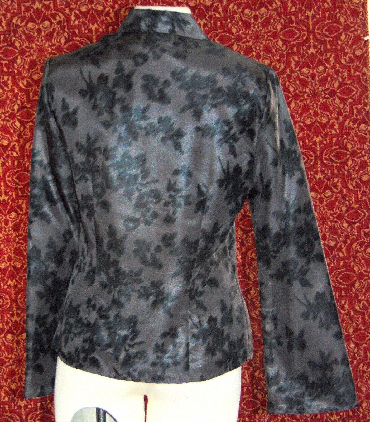 NINE & COMPANY gray polyester long sleeve faux wrap blouse 6 (T07-01I8G) image 5