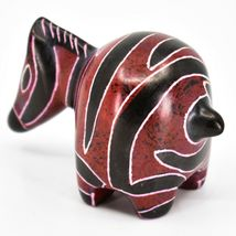 Crafts Caravan Hand Carved Soapstone Red & Black Chubby Zebra Figurine Kenya image 3