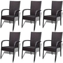 vidaXL 6x Garden Dining Chair Poly Rattan Brown Patio Seat Outdoor Furni... - $285.99