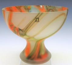 Vtg Poland Made Art Glass Frosted Pedestal Bowl Krosno TARNOWEIC Orange ... - $33.25