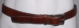 Columbia Mens Brown Leather Belt Size 34 Waist Silvertone Buckle - $10.37
