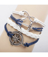 Braided Leather Bracelet Infinity Anchor Friendship Charm Wrap plated Si... - $4.44