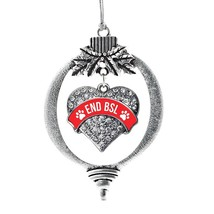 Inspired Silver Red End BSL Pave Heart Holiday Ornament - €12,87 EUR