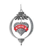 Inspired Silver Red End BSL Pave Heart Holiday Ornament - $14.69