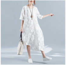 Summer Plus Size Dress White Floral Oversized Loose Tunic Dress crop sleeve NWT image 3