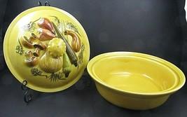 Los Angeles Potteries 3 Qt Vegetable Covered Casserole Dish Bowl Golden ... - $67.68