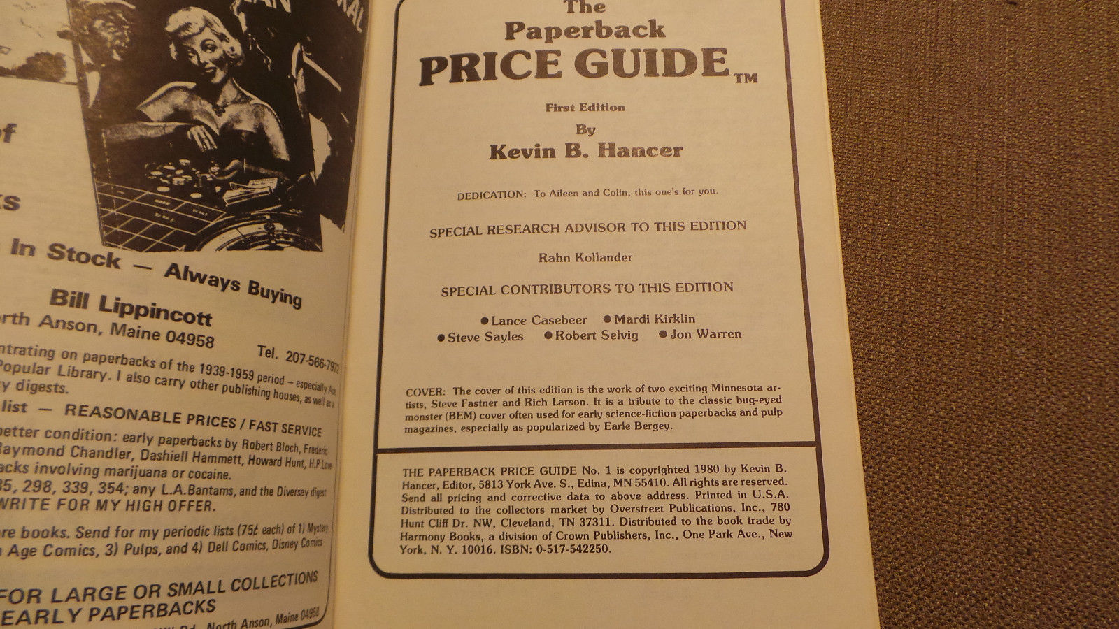 The Paperback Price Guide by Kevin Hancer First Edition Overstreet 1980 VG+