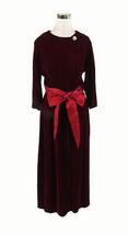 Maroon red velvet BY PEER 3/4 sleeve vintage maxi dress 16 M - $75.00