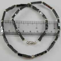 NECKLACE GIADAN 925 SILVER HEMATITE LUCID AND 8 DIAMONDS WHITE MADE IN ITALY image 2