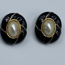 Vtg Kenneth Lane Gold Tone Clip on Earrings Faux Pearl Black Enamel Oval... - $16.79