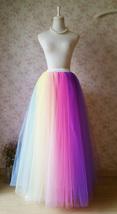 Adult RAINBOW Tulle Skirt Multi Colored Long Rainbow Tutu Skirts Plus Size  image 1