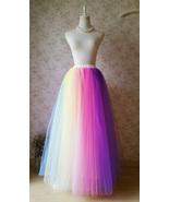 Adult RAINBOW Tulle Skirt Multi Colored Long Rainbow Tutu Skirts Plus Size  - $65.99+
