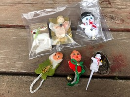 Vintage Miniature Christmas Grouping Plastic Snowman Pipe Cleaner Angel ... - $17.77