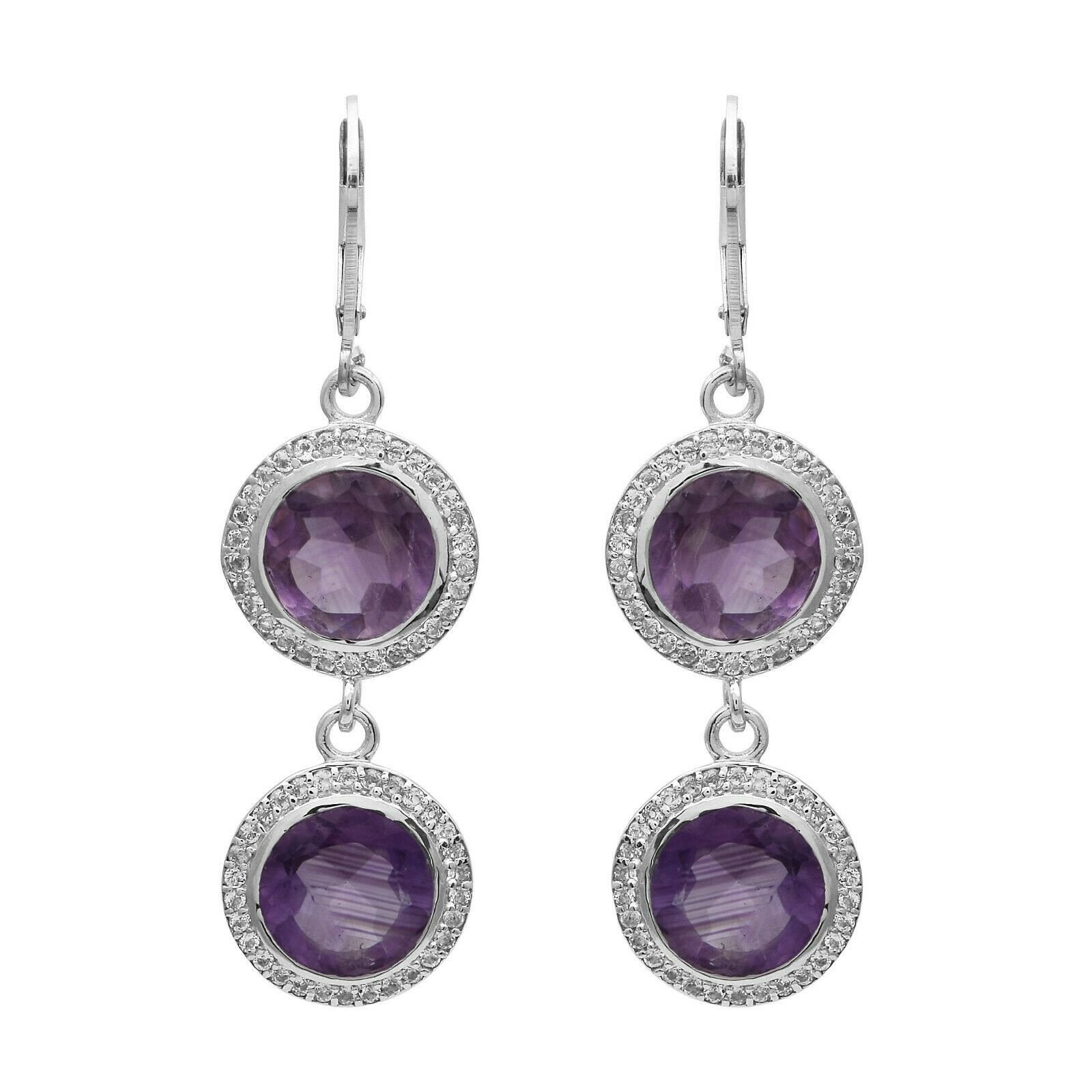 925 Sterling Silver 10 MM Amethyst  White Topaz Dangle Two Drop Earring For Gift