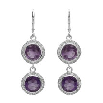 925 Sterling Silver 10 MM Amethyst  White Topaz Dangle Two Drop Earring ... - $24.85