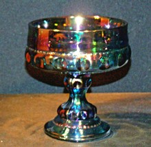 Purple King's Crown Carnival Compote with Thumb Print Design AA18-1215 Iridescen image 1