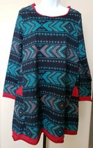 Clocolor Dress Navy Blue and Red Mod Tribal Print Size Large A-line Tuni... - $21.99