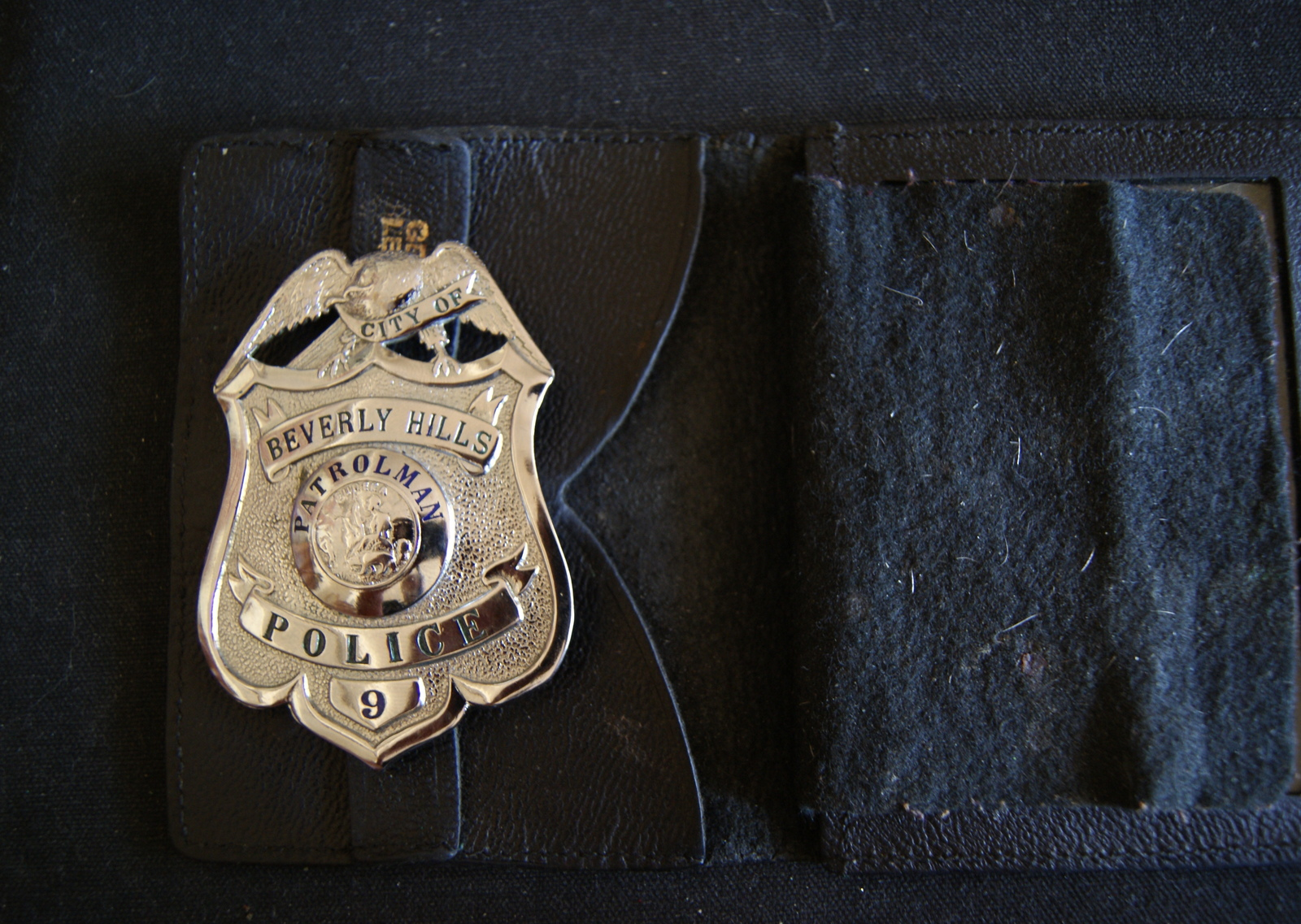 Beverly Hills Cal,Scarce Antique Police Badge W/ Wallet,.Hmk L.A Rubber Stamp Co image 2